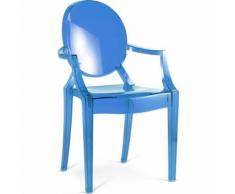 Myfaktory - Chaise enfant lou lou - polycarbonate bleu transparent - Chaise