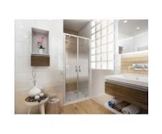 Porte de douche Ancoswing, 2 battants 90x190cm, verre sérigraphié sécurité 5mm, profil blanc - Installations salles de bain