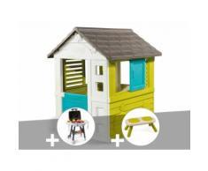 Cabane enfant Pretty - Smoby + Plancha + Banc - Maisons de jardin