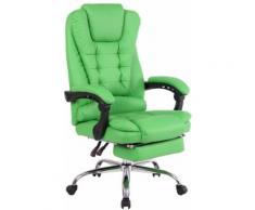 Fauteuil de Bureau Oxygen en Similicuir avec Repose-pieds téléscopique- Couleur Vert - Sièges et fauteuils de bureau