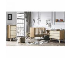 Chambre complète lit bébé 60x120 - commode à langer - chiffonnier Vintage - Bois Beige - Chambres enfant complètes