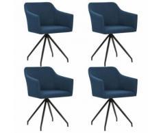 vidaXL Chaise pivotante de salle à manger 4 pcs Bleu Tissu - Chaise
