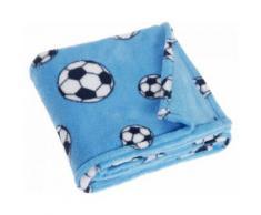 Playshoes couverture polaire football 75 x 100 cm bleu - Linge de lit