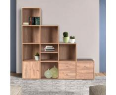 Meuble de rangement escalier 4 niveaux bois façon hêtre avec porte et tiroirs - Étagère