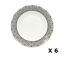 6 Assiettes creuses en porcelaine Kumasi - Diam. 20 cm - Blanc et noir - vaisselle