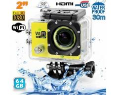 Camera Embarquée Sports Wi-fi Lcd Caisson étanche Waterproof 12 Mp Hd Jaune 64go - Yonis - Caméra sport