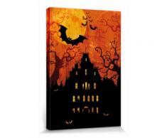 Halloween Poster Reproduction Sur Toile, Tendue Sur Châssis - Maison Hantée Et Lune De Sang (30x20 cm) - Décoration murale