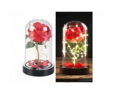 Rose artificielle avec cloche en verre et lumière LED - Rouge - Plantes artificielles