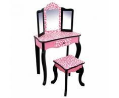 Teamson meuble coiffeuse table de maquillage enfant miroir tabouret rose noir - Décoration de chambre