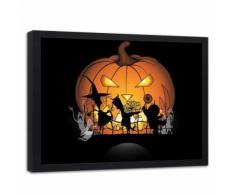 Feeby Tableau Impression Art Image encdrée cadre noir, Citrouille d'halloween 70x50 cm - Décoration murale
