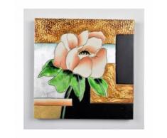 Tableau déco Fleur 1 - Peinture métallique - 30 x 30 x 3 cm - Décoration murale