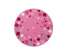 Tapis de chambre - Bloom field - rose 100x100 cm en Acrylique - Tapis enfant