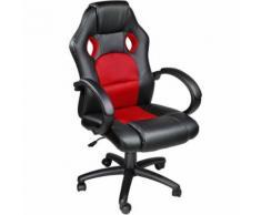 TECTAKE Chaise de bureau, Fauteuil de bureau RACING SPORT Noir / Rouge Rembourrage Épais - Hauteur Réglable - Pivotante - Sièges et fauteuils de bureau