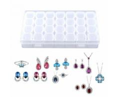 28 fentes Boîte de rangement en plastique clair de bijoux de comprimé réglable de pilule de médecine de comprimé - Boite de rangement