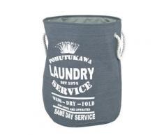 Sac à linge coloris gris-blanc, H54 x D42 cm -PEGANE- - Accessoires de bain