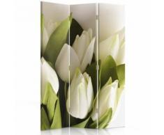 Feeby Cloison amovible Décoration Paravent intérieur une face 3 parties, Bouquet Tulipes blanches 110x180 cm - Objet à poser