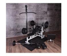 Gorilla Sports - Ensemble Universel Power Station 46 éléments - banc, poulie, poids, barres, tapis protéction - Musculation