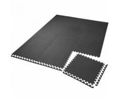 TECTAKE Tapis de Sol de Gym Sport avec 12 Dalles de Protection en Mousse 61 cm x 61 cm Noir - Gymnastique
