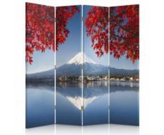 Feeby Diviseur de pièce rotatif déco Paravent toile 4 parties, Vue Mont Fuji 145x180 cm - Objet à poser