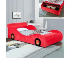 Lit enfant voiture avec rangement Speed - Rouge - 90x190 - Cadre de lit