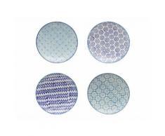Assiette plate en grès motifs assortis D26cm blanc et bleu - Coffret de 4 ADELIE - vaisselle
