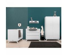 Chambre complète lit bébé 60x120 - commode à langer - armoire 2 portes Anne - Blanc - Chambres enfant complètes