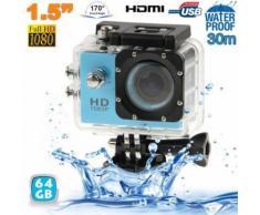 Camera Embarquée Sport Caisson étanche Waterproof 12 Mp Full Hd 1080p Bleu 64go - Yonis - Caméra sport