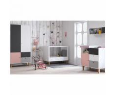 Chambre complète lit bébé 60x120 - commode à langer - armoire 2 portes Concept - Rose - Chambres enfant complètes