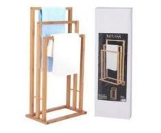 porte serviette en bois bambou 3 bras pour salle de bain - Accessoires salles de bain et WC