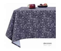 Deconovo Nappe Designer Series Rectangulaire à Motifs en Tissu Oxford Semi Imperméable 130x280cm Bleu Marine Nappe Salle à Manger Rectangle - Linge de table