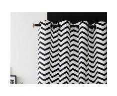 Rideau à oeillets tamisant 100% coton motif chevron noir/blanc 140x240cm ZIGZAG - Rideaux et stores