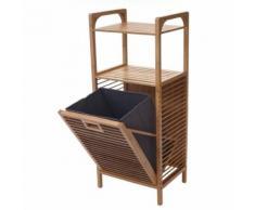 Étagère avec corbeille à linge HWC-B94, étagère indépendante, panier à linge, bambou, 95x40x30cm 28l - Meubles de salle de bain
