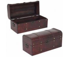 Coffre bois de décoration LOT DE DEUX malle au trésor Valence aspect antiquité, 17x38x18cm ~ rond - Boite de rangement
