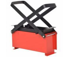 vidaXL Presse à papier de recyclage Acier 34 x 14 x 14 cm Noir et rouge - Cheminées, poêles
