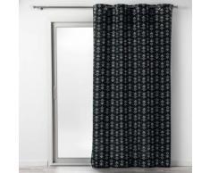 Rideau a oeillets 140 x 240 cm coton imprime letiko Noir - Rideaux et stores