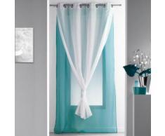 Panneau a oeillets 140 x 240 cm voile double uni duni Bleu/Blanc - Rideaux et stores