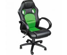 TECTAKE Chaise de bureau Fauteuil de bureau RACING SPORT Noir / Vert Rembourrage Épais - Hauteur Réglable - Pivotante - Sièges et fauteuils de bureau