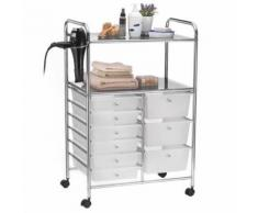 Caisson sur roulettes MARITA chariot 9 tiroirs en plastique blanc transparent et 2 étagères, rangement salle de bain en métal chromé - Dessertes de rangement