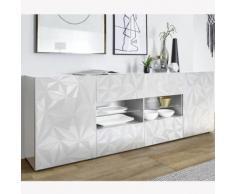 Enfilade design 2 portes 4 tiroirs blanc laqué PAOLO - L 241 x P 42 x H 84 cm - Buffets