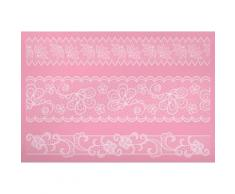 Kitchen craft de 40 x 27 cm kitchen craft sweetly does it poche à douille silicone tapis bordure en dentelle rose - Ustensiles