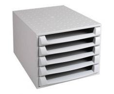 Module 5 tiroirs ouvert gris - Corbeille, bac à courrier, poubelle