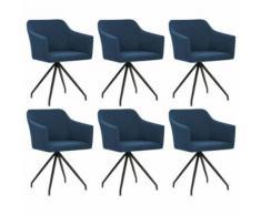 vidaXL Chaise pivotante de salle à manger 6 pcs Bleu Tissu - Chaise