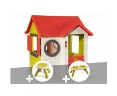 Cabane enfant My House - Smoby + Tabouret + Banc - Maisons de jardin