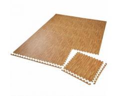TECTAKE Tapis de Sol de Gym Sport avec 12 Dalles de Protection en Mousse 61 cm x 61 cm Marron - Gymnastique