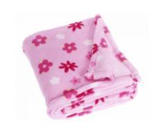 Playshoes couverture polaire fleurs 75 x 100 cm rose - Linge de lit