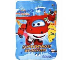 Super Wings couverture polaire bleue 140 x 100 cm - Linge de lit