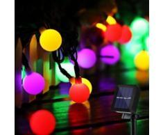 Guirlande Lumineuse Solaire 50 Boule LED, 10m Fil Souple Imperméable Eclairage Décoration (Multicolore) - Luminaires extérieur