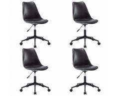 vidaXL Chaise pivotante de salle à manger 4 pcs Noir Similicuir - Chaise