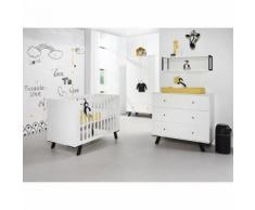 Chambre complète lit bébé 60x120 - commode à langer - armoire 2 portes Pure - Blanc - Chambres enfant complètes