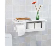 Dérouleur Papier Toilette - Distributeur WC Porte Papier mural avec support pour déposer Smartphone et porte-revues- Blanc FRG175-W SoBuy® - Meubles de salle de bain